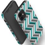 For Apple iPhone 12 Pro Max/12 Pro/12 mini Case, Tough Protective Back Cover, Zigzag blue grey Pattern   iCoverLover Australia