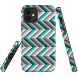 For Apple iPhone 12 mini Case, Tough Protective Back Cover, Zigzag blue grey Pattern   iCoverLover Australia