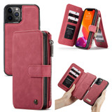 Detachable Folio Leather Case , Card Slot & Holder & Zipper Wallet & Photo Frame For iPhone 12 Pro Max, Red