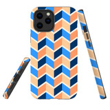 For Apple iPhone 12 Pro Max Case, Tough Protective Back Cover, Zigzag blue orange Pattern | iCoverLover Australia
