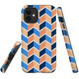 For Apple iPhone 12 mini Case, Tough Protective Back Cover, Zigzag blue orange Pattern | iCoverLover Australia