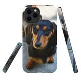 For Apple iPhone 12 mini Case, Tough Protective Back Cover, black tan daschunds | iCoverLover Australia