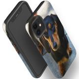 For Apple iPhone 12 Pro Max/12 Pro/12 mini Case, Tough Protective Back Cover, black tan daschunds | iCoverLover Australia