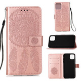 For iPhone 12 Max/ 12 / 12 Pro Dream Catcher Printing Folio PU Leather Case,Holder, Card Slots, Wallet, Lanyard, Rose Gold | iCoverLover Australia