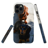 For Apple iPhone 12 Pro Max Case, Tough Protective Back Cover, tan black tan daschunds   iCoverLover Australia