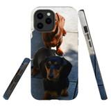 For Apple iPhone 12 mini (5.4in) Case, Tough Protective Back Cover, tan black tan daschunds   iCoverLover Australia