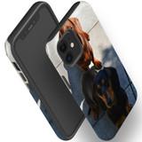 For Apple iPhone 12 Pro Max/12 Pro/12 mini Case, Tough Protective Back Cover, tan black tan daschunds   iCoverLover Australia