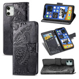 For iPhone 12 mini Butterfly Love Flower Folio PU Leather Case, Card Slot, Wallet, Lanyard, Black | iCoverLover Australia