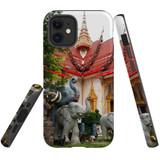 For Apple iPhone 12 mini Case, Tough Protective Back Cover, thai elephant statues temple   iCoverLover Australia