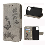 For iPhone 12 / 12 Pro Vintage Floral Butterfly Pattern Folio PU Leather Case,Card Slot, Holder, Wallet, Lanyard, Grey | iCoverLover Australia