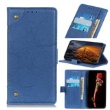 For iPhone 12 Pro Max Copper Buckle Retro Wild Horse Texture Folio PU Leather Case Wallet, Blue   iCoverLover Australia