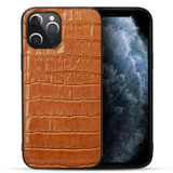 iPhone 12 / 12 Pro (6.1in) Case Genuine Leather Crocodile Texture Cover Brown