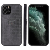 iPhone 12 / 12 Pro (6.1in) Case Crocodile Pattern PU Leather Card Slot Cover Grey