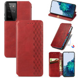 For Samsung Galaxy S21 Ultra Case, Cubic Grid Folio Magnetic PU Leather Cover Wallet, Kickstand, Red   iCoverLover.com.au   Phone Cases
