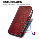 For Samsung Galaxy S21 Ultra/S21+ Plus/S21 Case, Cubic Grid Folio Magnet PU Leather Wallet Cover, Kickstand, Red   iCoverLover.com.au   Phone Cases