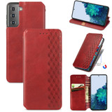 For Samsung Galaxy S21+ Plus Case, Cubic Grid Folio Magnetic PU Leather Cover Wallet, Kickstand, Red   iCoverLover.com.au   Phone Cases
