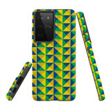 Samsung Galaxy S21 Ultra Case, Tough Protective Back Cover, Abstract Brazilian Flag   iCoverLover.com.au   Phone Cases
