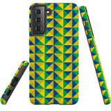 Samsung Galaxy S21 Case, Tough Protective Back Cover, Abstract Brazilian Flag   iCoverLover.com.au   Phone Cases