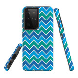 Samsung Galaxy S21 Ultra Case, Tough Protective Back Cover, Blue And Green Waves   iCoverLover.com.au   Phone Cases