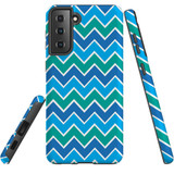 Samsung Galaxy S21 Case, Tough Protective Back Cover, Blue And Green Waves   iCoverLover.com.au   Phone Cases