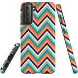 Samsung Galaxy S21 Case, Tough Protective Back Cover, ZigZag Rainbow | iCoverLover.com.au | Phone Cases