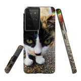 Samsung Galaxy S21 Ultra Case, Tough Protective Back Cover, Cat Closeup   iCoverLover.com.au   Phone Cases
