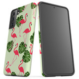 Samsung Galaxy S21 Ultra/S21+ Plus/S21  Case, Tough Protective Back Cover, Flamingoes And Monsteras | iCoverLover.com.au | Phone Cases