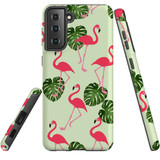 Samsung Galaxy S21 Case, Tough Protective Back Cover, Flamingoes And Monsteras | iCoverLover.com.au | Phone Cases