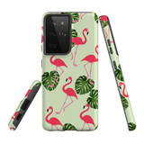 Samsung Galaxy S21 Ultra Case, Tough Protective Back Cover, Flamingoes And Monsteras | iCoverLover.com.au | Phone Cases