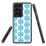 Samsung Galaxy S21 Ultra Protective Case, Clear Acrylic Back Cover, Blue Snowflakes | iCoverLover.com.au | Phone Cases