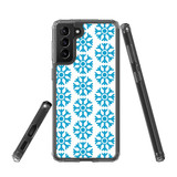 Samsung Galaxy S21+ Plus Protective Case, Clear Acrylic Back Cover, Blue Snowflakes | iCoverLover.com.au | Phone Cases