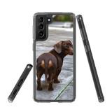 Samsung Galaxy S21+ Plus Protective Case, Clear Acrylic Back Cover, Tan Daschund Lookback | iCoverLover.com.au | Phone Cases