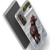 Samsung Galaxy S21 Ultra/S21+ Plus/S21 Flexi Case, Clear Protective Soft Back Cover, Tan Daschund Lookback   iCoverLover.com.au   Phone Cases