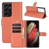 For Samsung Galaxy S21 Ultra Case Lychee Folio Protective PU Leather Wallet Cover, Brown | iCoverLover.com.au | Phone Cases
