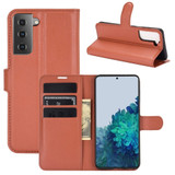 For Samsung Galaxy S21+ Plus Case Lychee Folio Protective PU Leather Wallet Cover, Brown | iCoverLover.com.au | Phone Cases