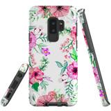 For Samsung Galaxy S9+ Plus Case Tough Protective Cover Floral Garden