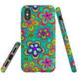 For iPhone XS & X Case Tough Protective Cover Retro Floral