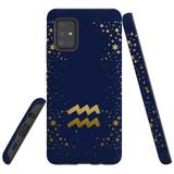 For Samsung Galaxy A51 5G Case, Tough Protective Back Cover, Aquarius Sign   Protective Cases   iCoverLover.com.au