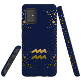 For Samsung Galaxy A71 5G Case, Tough Protective Back Cover, Aquarius Sign   Protective Cases   iCoverLover.com.au