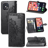 For iPhone 13 Pro Case Mandala Flower Emboss Folio PU Leather Cover Wallet, Black | PU Leather Cases | iCoverLover.com.au