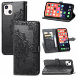 For iPhone 13 Case Mandala Flower Emboss Folio PU Leather Cover Wallet, Black | PU Leather Cases | iCoverLover.com.au