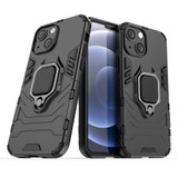 For iPhone 13 Pro Max, 13, 13 Pro, 13 mini Case, Shockproof PC/TPU Protective Cover with Magnetic Ring Holder, Black | Plastic Cases | iCoverLover.com.au