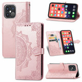 For iPhone 13 Pro Case Mandala Flower Emboss Folio PU Leather Cover Wallet, Rose Gold   PU Leather Cases   iCoverLover.com.au