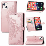 For iPhone 13 Case Mandala Flower Emboss Folio PU Leather Cover Wallet, Rose Gold   PU Leather Cases   iCoverLover.com.au