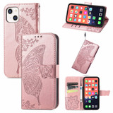 For iPhone 13 Case Butterfly Love Flower Emboss Folio PU Leather Cover Wallet, Rose Gold   PU Leather Cases   iCoverLover.com.au
