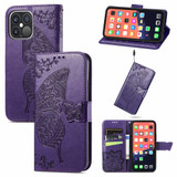 For iPhone 13 Pro Max, 13, 13 Pro, 13 mini Case, Butterfly Wallet Cover, Lanyard & Stand, Dark Purple   PU Leather Cases   iCoverLover.com.au