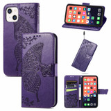 For iPhone 13 Case Butterfly Love Flower Emboss Folio PU Leather Cover Wallet, Dark Purple   PU Leather Cases   iCoverLover.com.au