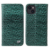 For iPhone 13 Case Fierre Shann Crocodile Pattern Genuine Cow Wallet Leather Cover Green