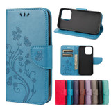 For iPhone 13 Case Butterfly Flower Pattern Folio PU Leather Cover Wallet, Blue | PU Leather Cases | iCoverLover.com.au