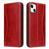 For iPhone 13 Case Red Fierre Shann Genuine Cowhide Leather Wallet Cover